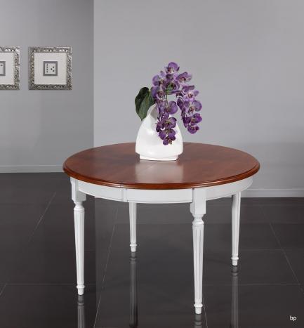 Table ronde 4 pieds Diane  en Merisier Massif de style Louis XVI Diamètre 120 Ceinture et pieds patiné IVOIRE