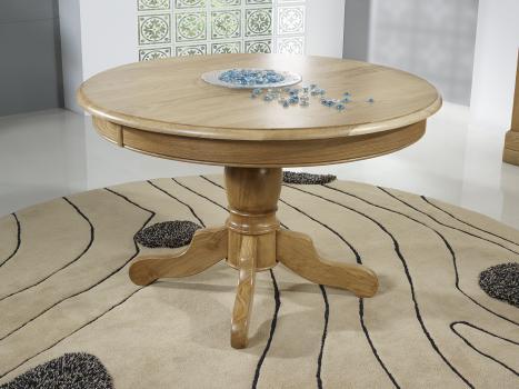 Table ronde pied central   en Chêne Massif de style Louis Philippe DIAMETRE 120 - 2 allonges de 40 cm SEULEMENT 1 DISPONIBLE
