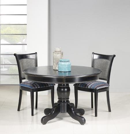 Table ronde pied central réalisée en Chêne Massif de style Louis Philippe DIAMETRE 120  Finition Charbon patine antiquaire