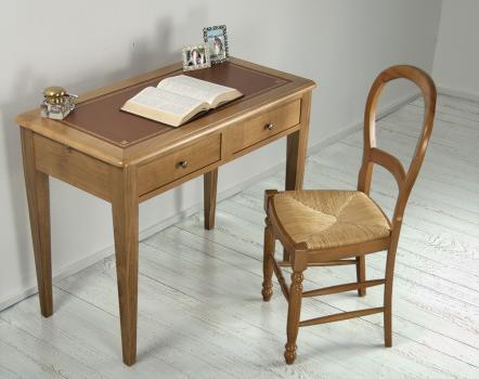 Table d'ecriture Clara en Chêne de style Louis Philippe Surface d'écriture moleskine Camel