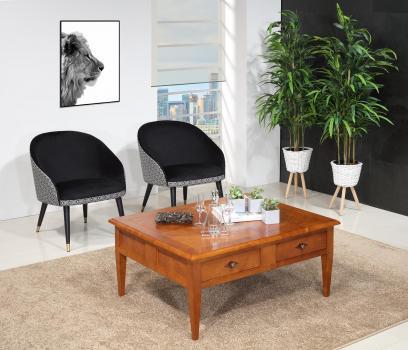 Table Basse rectangulaire 100x80  en merisier de style Directoire 4 tiroirs SEULEMENT 1 DISPONIBLE