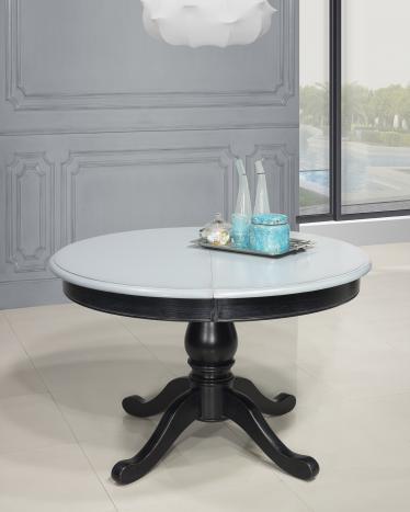 Table ronde pied central réalisée en Chêne Massif de style Louis Philippe DIAMETRE 120  Finition Charbon patine antiquaire et gris bleuté