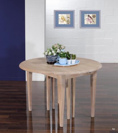 Table ronde à volets Michel, Diamètre 110 réalisée en chêne massif de style Louis Philippe 7 allonges de 40 cm  Pieds Fuseaux