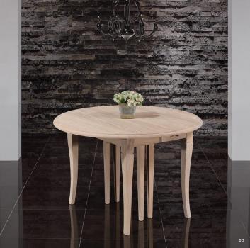 Table ronde à volets, Diamètre 120 réalisée en chêne massif de style Louis Philippe 7 allonges de 40 cm