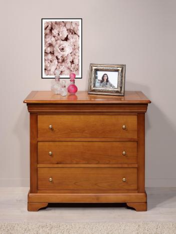 Commode 3 tiroirs Amélie  en Merisier Massif de style Louis Philippe Largeur 105 cmdans une finition merisier teinté noyer clair