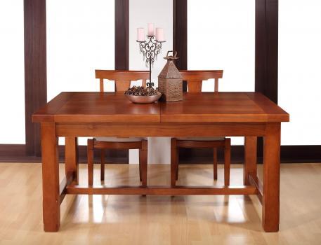 Table de ferme rectangulaire Mathis réalisée en MERISIER massif 160x100 + 2 allonges de 40 cm