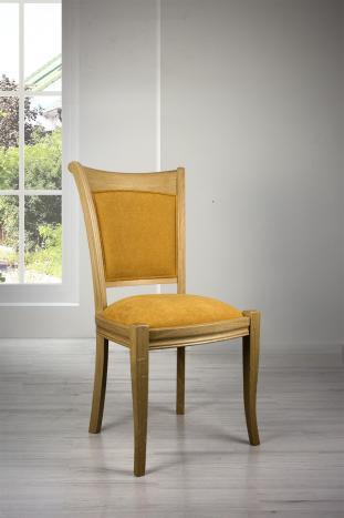 Chaise Benjamin en chêne massif de style Louis Philippe Tissu Moutarde