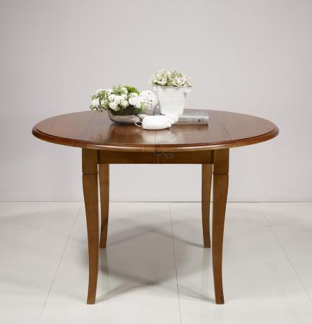 Table ronde à volets Maureen réalisée en Merisier Massif de style Louis Philippe 2 allonges