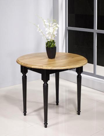 Table ronde à volets diamètre 80 en chêne massif de style Louis XVI avec 2 allonges de 40 cm