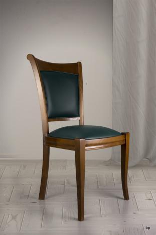 Chaise Pauline en Merisier Massif de style Louis Philippe Moleskine Vert ANGLAIS
