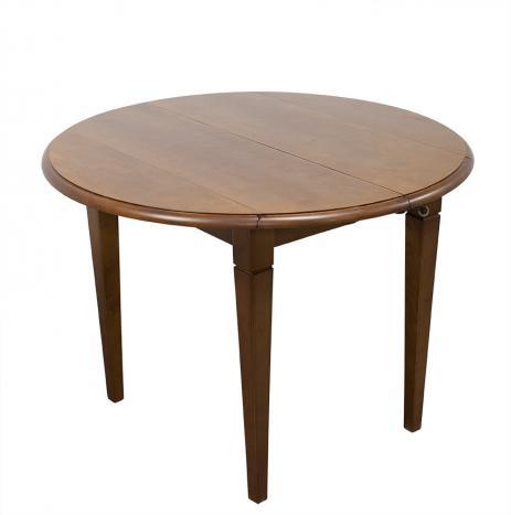 Table ronde à volets Simon réalisée en Chataignier Massif de style Louis Philippe DIAMETRE 105 avec 3 ALLONGES DE 40 CM