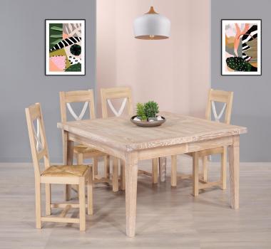 Table de Campagne 130x130 réalisé en Chêne Massif 2 allonges de 40 cm Finition Chêne brossé blanchi