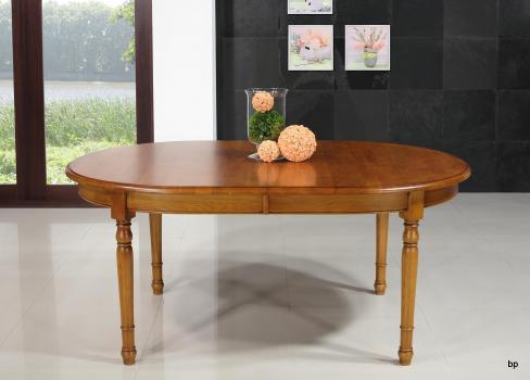 Table ovale 170x110, réalisée en chêne massif de style louis philippe avec 3 allonges de 40 cm