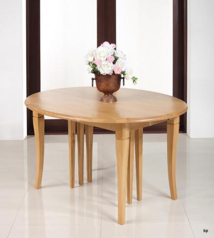 Table ovale à volets Jérome, réalisée en Chêne Massif  de style Louis Philippe 135x110 avec 7 allonges
