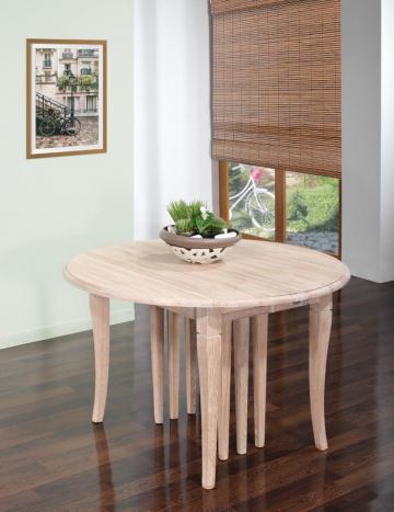 Table ronde à volets  DIAMETRE 110 réalisée en Chêne massif de style Louis Philippe 10 allonges de 40 cm