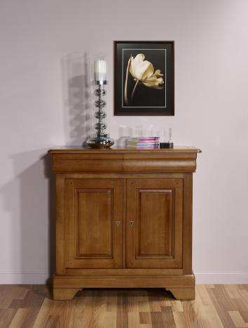 Petit Buffet 2 portes Emmanuel réalisé en Chêne Massif de style Louis Philippe Profondeur 52 cm