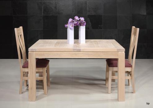 Table de repas rectangulaire 140x100  en Chêne Ligne Contemporaine 2 allonges à l'italienne