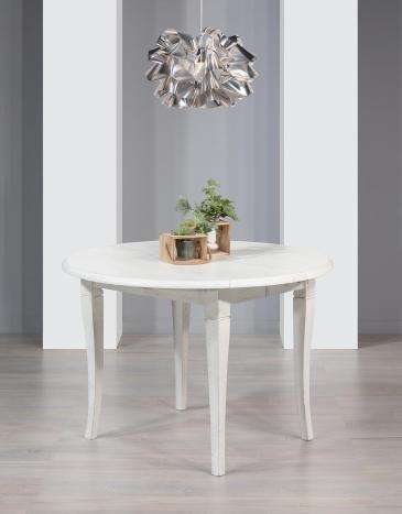 Table ronde à volets diamètre 120 réalisée en chêne massif 4 pieds sabres 2 allonges de 40 cm  finition chêne brossé ivoire patiné
