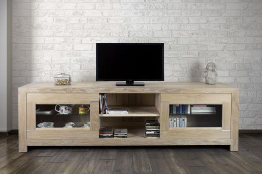 Meuble TV 2 portes Vitrées Loann réalisé en chêne massif de style Contemporain