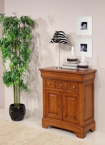 Petit Buffet Thimoty 2 portes 4 tiroirs en chêne massif de style Louis Philippe Finition chêne moyen