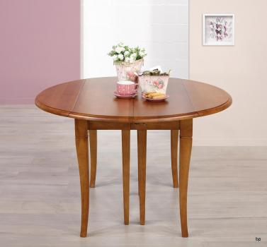 Table ronde à volets DIAMETRE 110  en chêne massif de style Louis Philippe 5 allonges de 40 cm