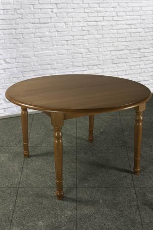 Table ronde Simon réalisée en Chêne Massif de style Louis Philippe DIAMETRE 120 avec 1 ALLONGE DE 40 CM, Plateau fixe
