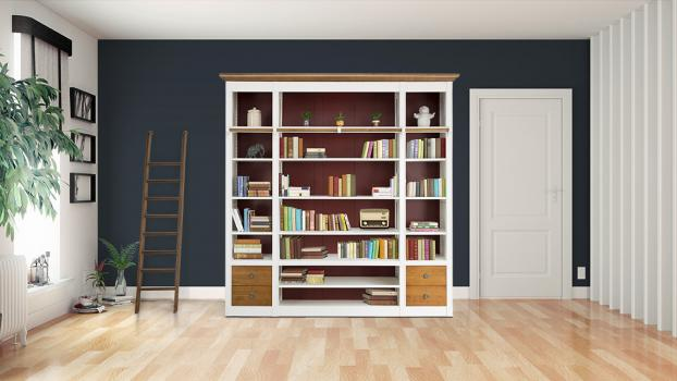 Bibliothèque Jade en Merisier Massif de ligne contemporaine