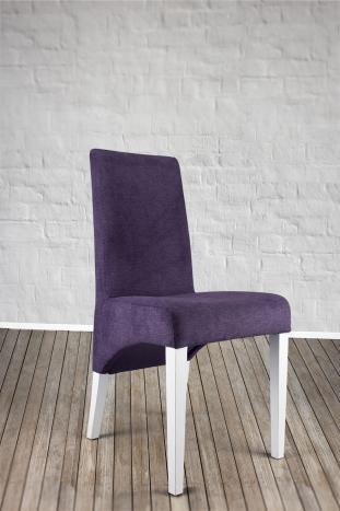 Chaise Loann en Hêtre massif, assise et dos capitonnés de couleur Violet
