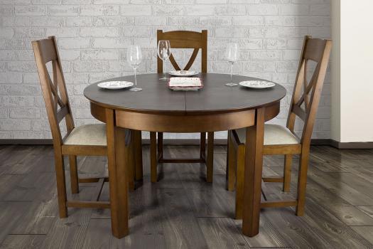 Table ronde Emy  en Merisier de ligne contemporaine  plateau céramique