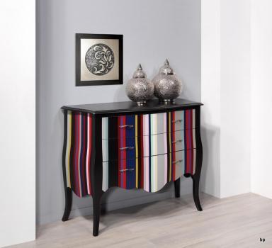 Commode 3 tiroirs Bérangère en Merisier de style Louis XV Laqué noir et rayures colorées 1 Disponible (modèle unique)