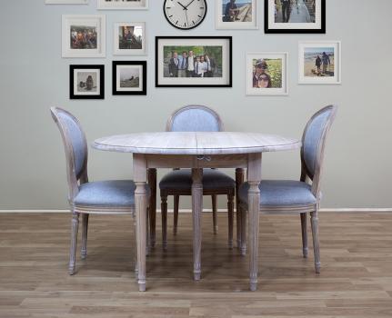 Table ronde à volets  en Chêne Massif de style Louis XVI Diamètre 105 - 3 allonges de 40 cm Finition Chêne Brossé