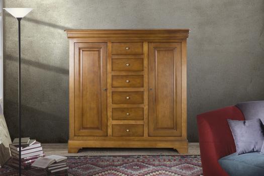 Bahut 2 portes 6 tiroirs en Chêne Massif de style Louis Philippe