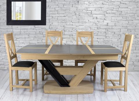 Table rectangulaire ovalisée Martin,  180x110 réalisée en Chêne Massif 1 allonge portefeuille de 75 cm Plateau céramique et Chêne