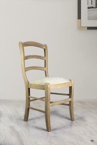 Chaise jean-loup en chêne massif de style louis philippe finition chêne brossé