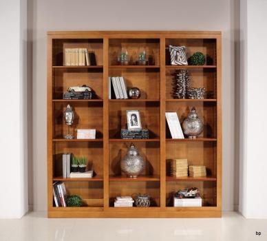 Bibliothéque Sylvia de ligne contemporaine réalisée en merisier massif 3 modules
