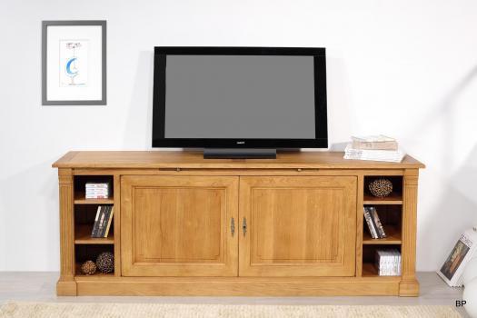 Meuble TV Bastien, réalisé en Chêne de style Directoire SEULEMENT 1 DISPONIBLE