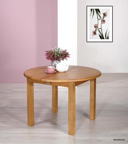 Table ronde réalisée en FRENE Massif de style Campagne avec  2 allonges de 40 cm