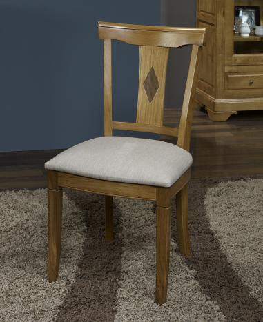 Chaise Arthur réalisée en Chêne Massif de style Louis Philippe Assise tissu d'ameublement façon Lin