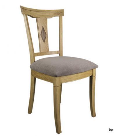 Chaise Arthur réalisée en Chêne Massif de style Louis Philippe Assise tissu aldecco