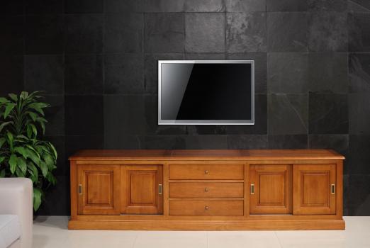 Meuble TV 16/9eme Lise en Merisier Massif de style Louis Philippe 4 portes 3 tiroirs