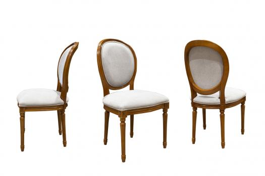 Lot de 4 Chaises Emeline  en Merisier Massif de style Louis XVI Tissu Gris Clair