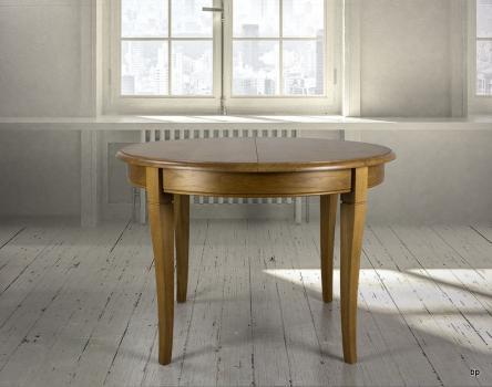 Table ronde 4 pieds -  en Chêne Massif de style Louis Philippe Diamètre 130 cm  1 allonge portefeuille de 40 cm