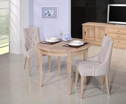 Table ronde 4 pieds -  en Chêne Massif de style Louis Philippe Diamètre 100  1 allonge portefeuille de 40 cm