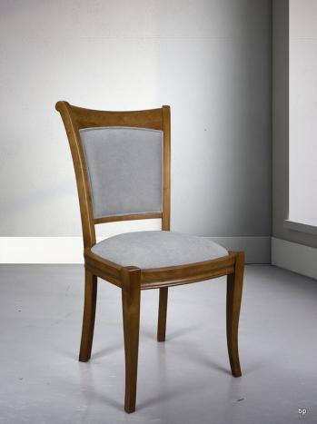 Chaise pauline en merisier massif de style louis philippe tissu kénia gris clair