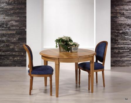 Table ronde Fabrice  en Chêne massif de style Louis Philippe DIAMETRE 110 avec 5 allonges de 40 cm Pieds Fuseaux ANTIK SEULEMENT 1 DISPONIBLE