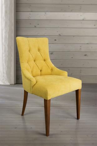 Chaise de séjour Capitonnée, 4 pieds en Merisier Massif Tissu jaune
