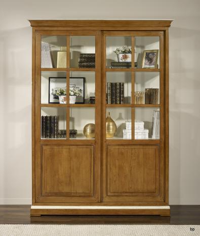 Bibliothèque portes coulissantes  réalisée en Merisier Massif de style Directoire BONNE AFFAIRE 1 DISPONIBLE