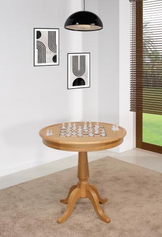 Table ronde à jeux en chêne de style Louis Philippe Diamètre 77 cm