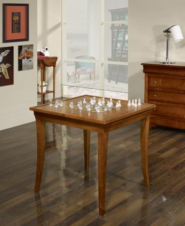 Table à jeux carrée en Merisier de style Louis Philippe 77x77