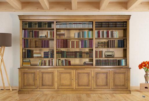 Bibliothèque 2 corps Adeline réalisée en Merisier Massif de style Louis Philippe longueur 350 cm